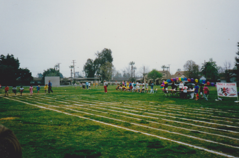 50M Dash at the Vista Track Meet, 1989. That's 9-year old me in the yellow T-Shirt screen right.