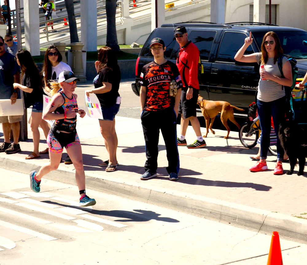 Professional triathlete Kelly O'Mara laying it down on the first lap.