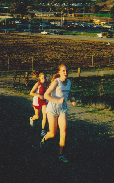 November, 1994.Climbing reservoir hill on the famed Mt. Sac cross country course.