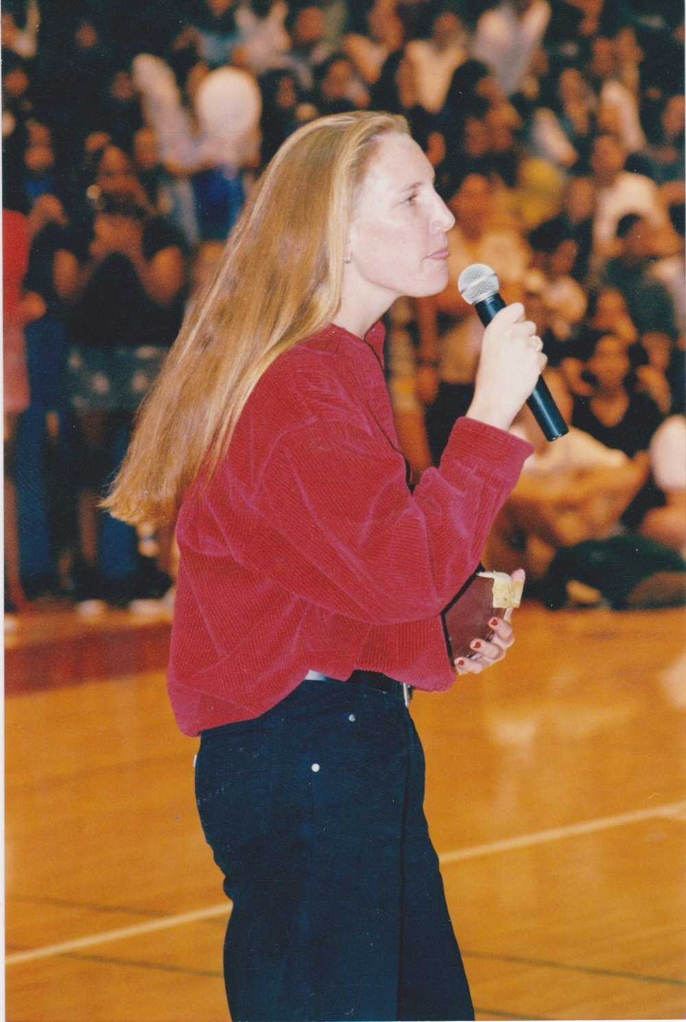 Spring 1996.Giving my speech to win over the entire student body of Claremont High School,