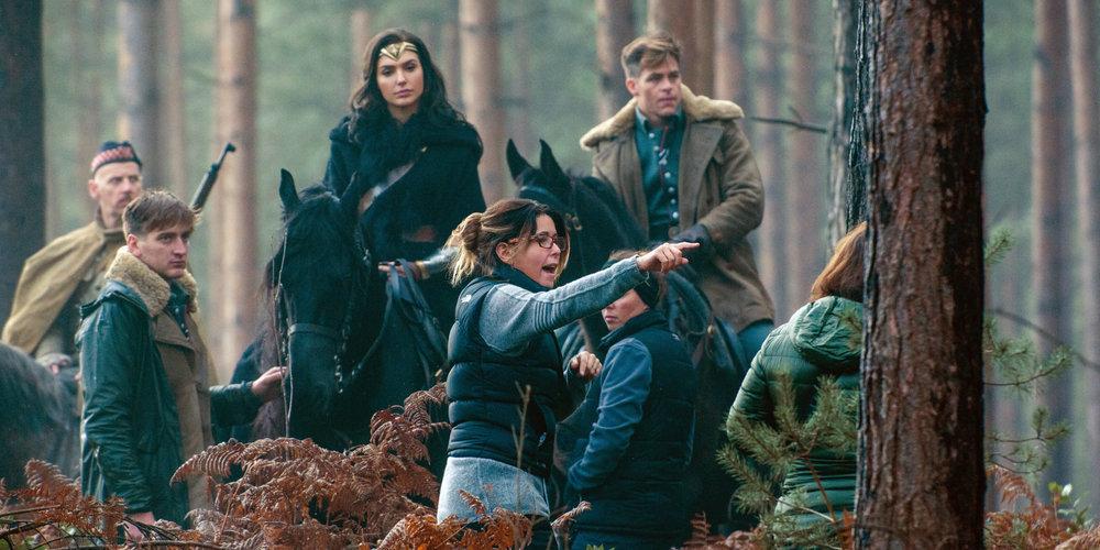 Director Patty Jenkins on the set of Wonder Woman.