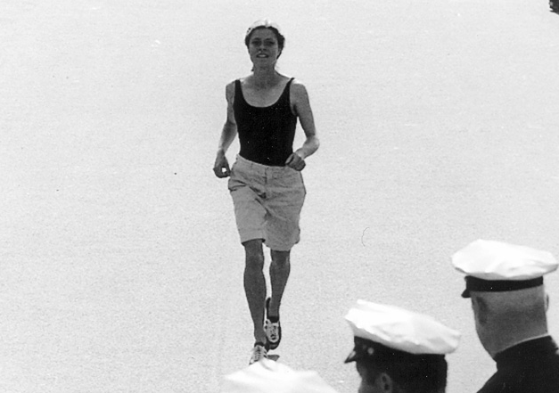 """Roberta """"Bobbi"""" Gibb running toward the Boston Marathon finish line, 1966. Thank you."""