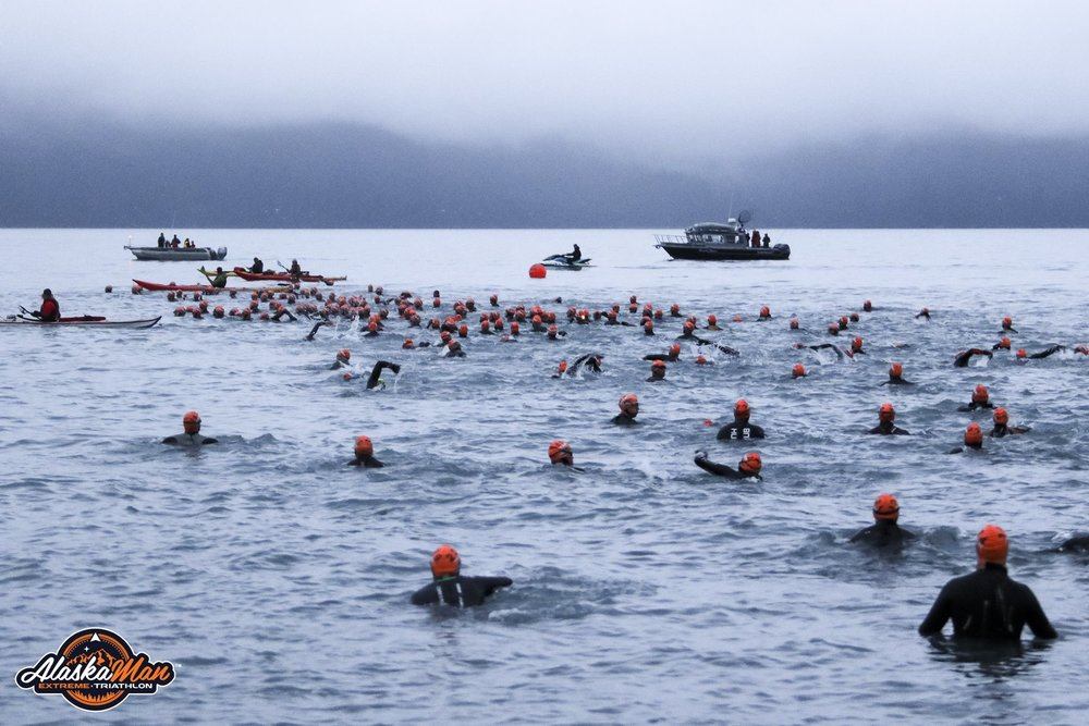 The chilly swim I mentioned, 2.67 miles swum in Resurrection Bay during Alaskaman.