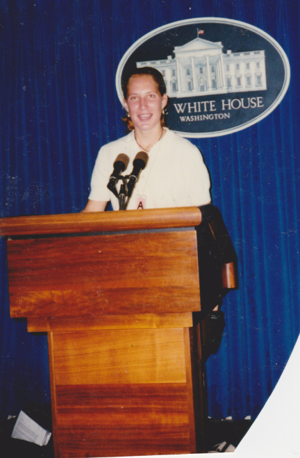 The White House press room, 1996.