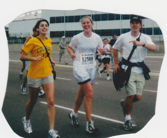 Near the finish of my first marathon, Rock n' Roll San Diego, 2001, alongside my friend Sarah, and my brother Peter.