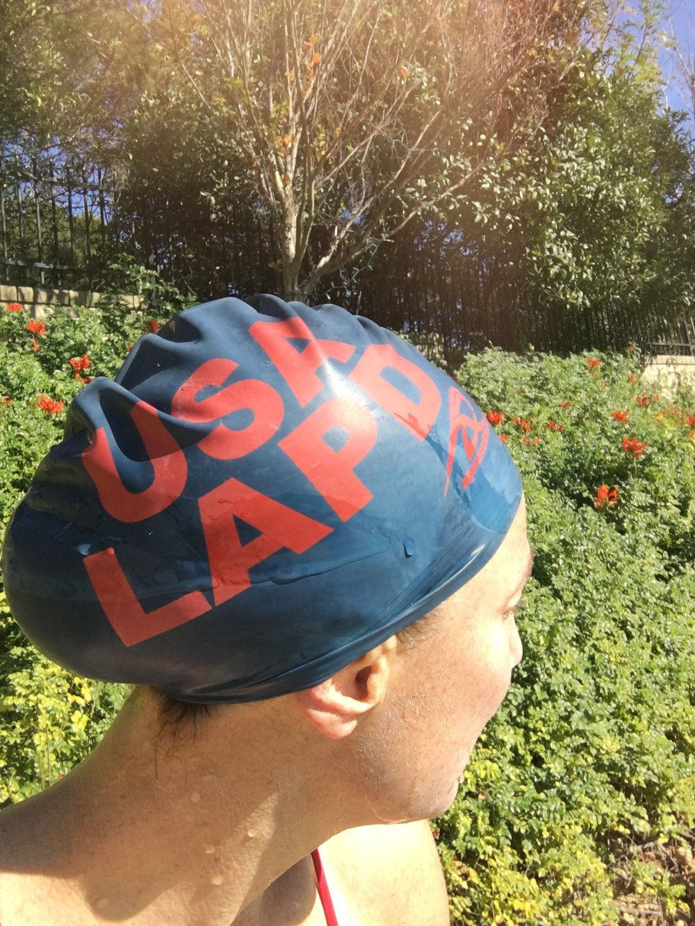 This cap was given to me by one of my swim heroes, Daisy. I only wear it for 10k swims.
