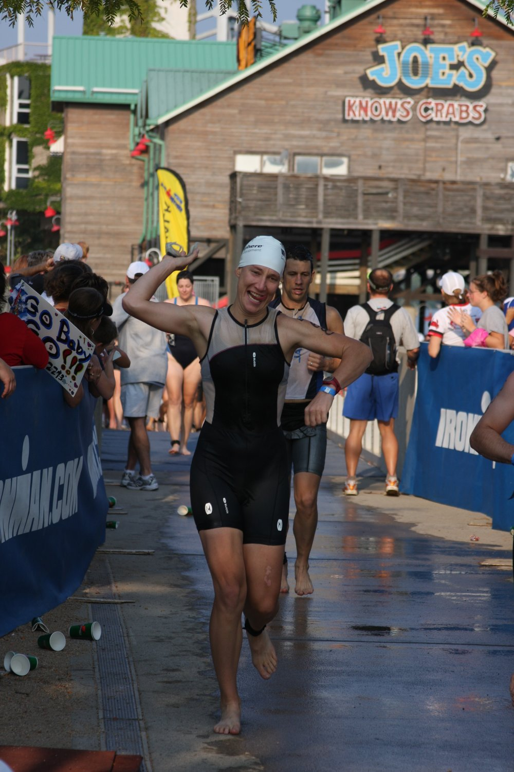 This photo was taken just after I exited the Ohio river, (hence the orange hue on my kit), at Ironman, Louisville, 2008. I finished that swim in 1:24 hours, and was STOKED!
