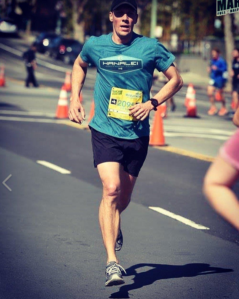 Peter running the Oakland Half Marathon is speedy fashion.