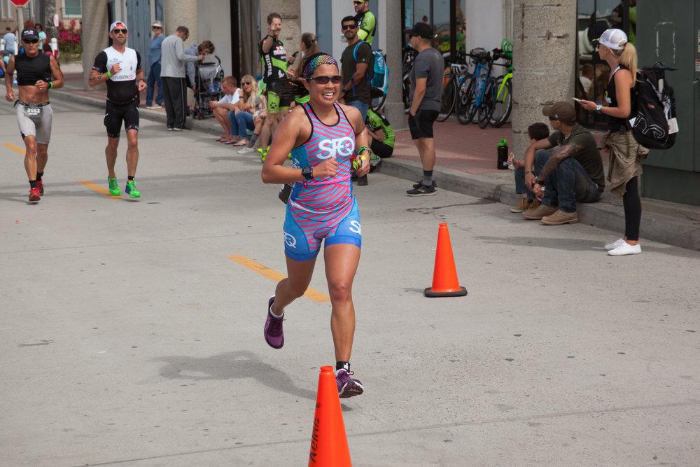 My teammate Linda Tivorsak SMASHING the 13.1 mile run!