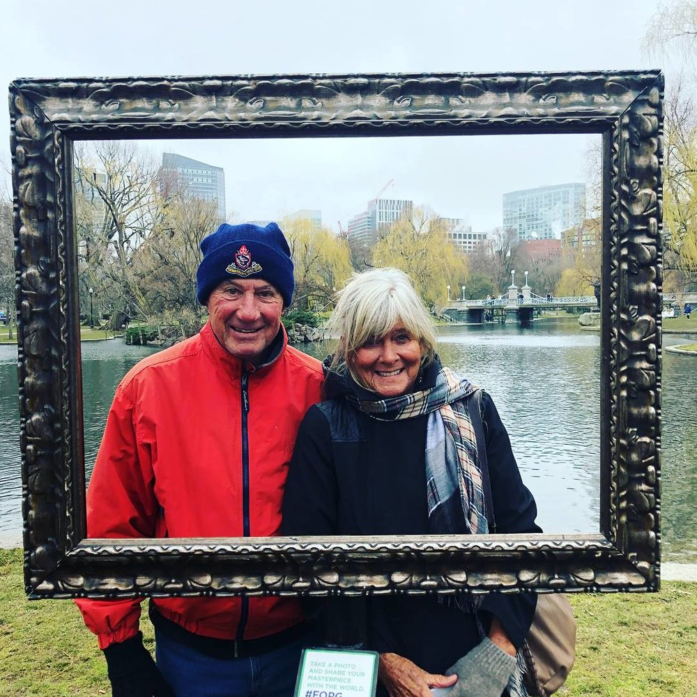 My dad and stepmom Sally making Boston look beautiful at the Boston garden.