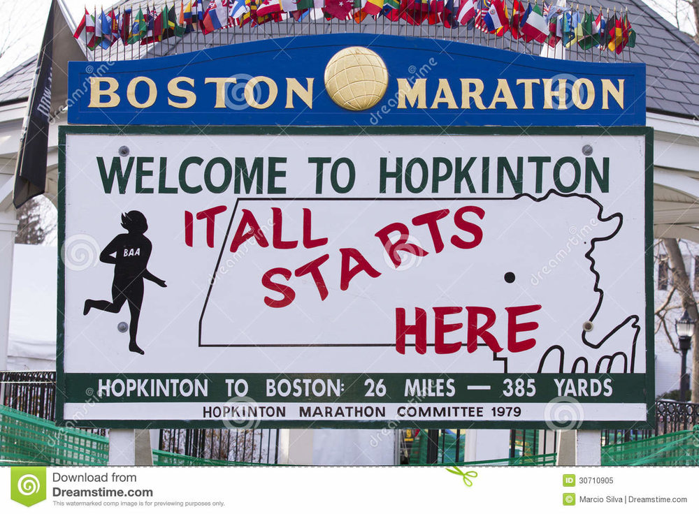 The famous sign stationed in the infield of Hopkinton High School.