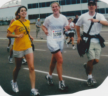 June 3rd, 2001, Flanked by my friend and roommate Sarah Gonzalez and my brother, Peter, at my first marathon, The Rock N' Roll in San Diego.
