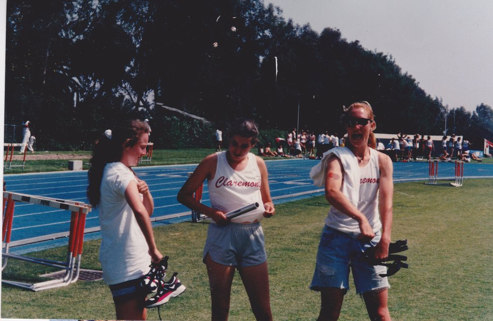 Pre-relay race at Pomona College, Spring 1996.