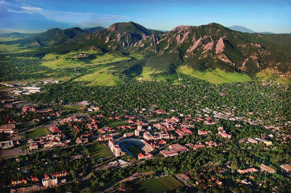 Aerial view of the CU campus in Boulder, CO.