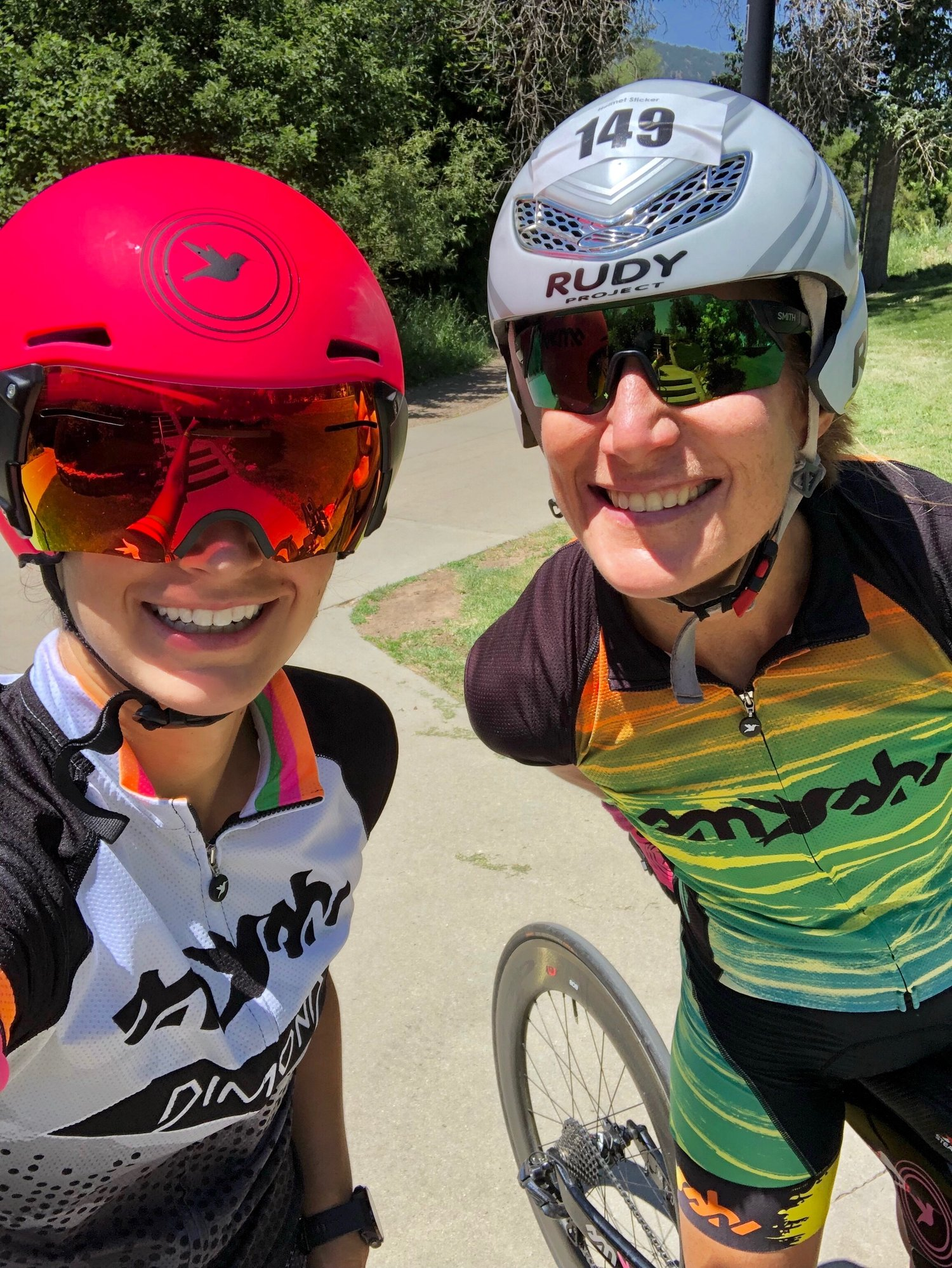 Lauren and a CU Alum just after finishing a pre-race ride along Boulder Creek. Photo credit goes to Lauren Palmer.