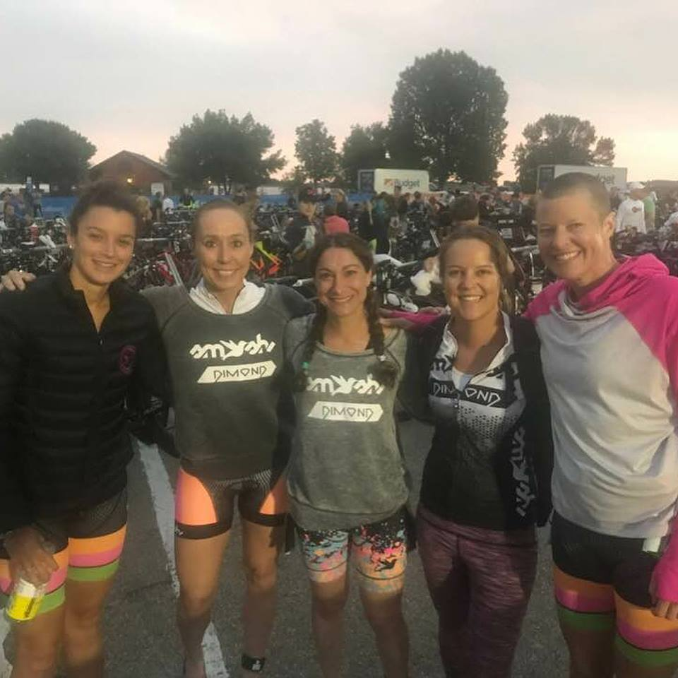 Early race morning in transition. From screen left, my Smash-Dimond teammates Lauren Palmer, Amy Hite, Josie Vitale, Jan Lohman, and Mary Knott. Photo credit goes to Amy Hite.