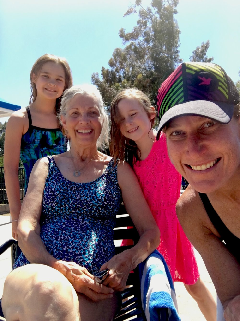 Swimming ladies. Screen left, Jenna, my mom, Kate, and a proud Aunt.