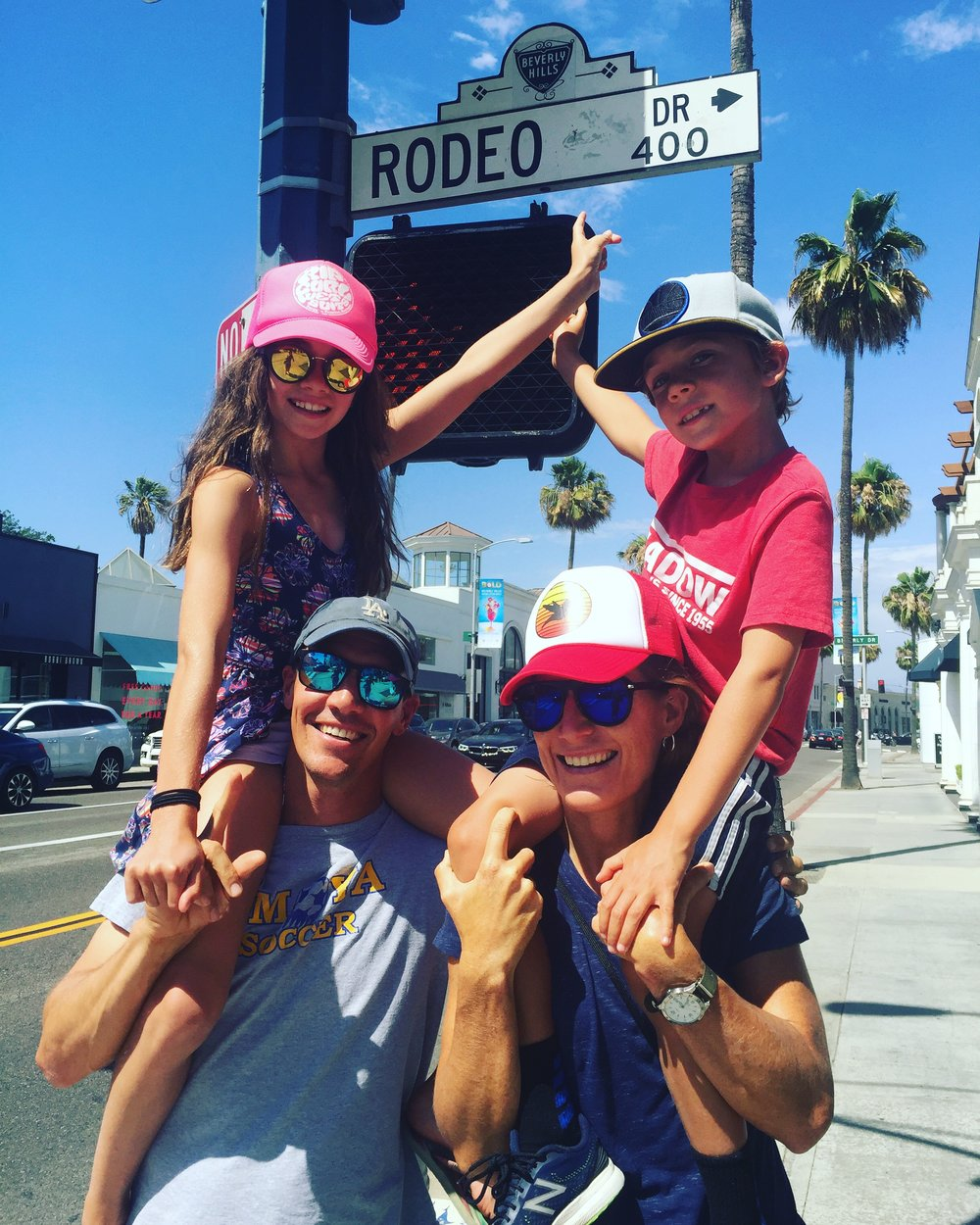 Peter, his daughter Kaia, his son, Reed, and their tall tour guide. Photo credit: Alexa Kelly