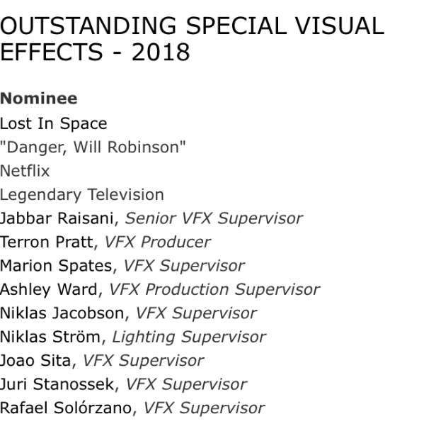 Lost In Space was nominated for an Emmy. AKA, Marion and I are going to the TV prom in September.