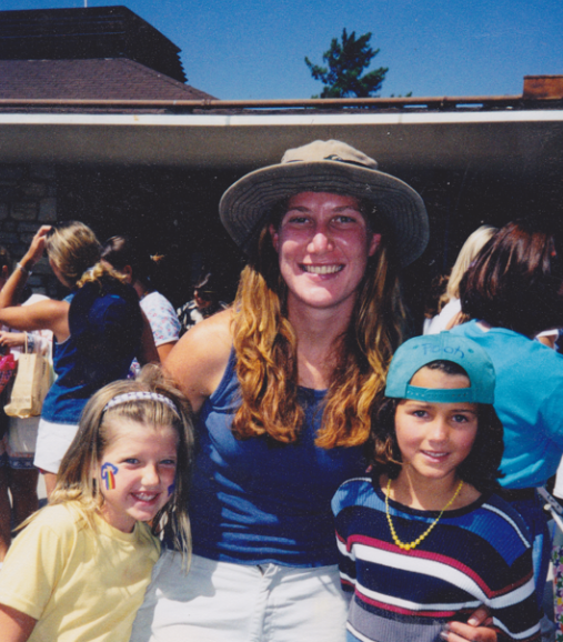 Coach T with two of her campers at Rolling Hills Country Day School Camp, 1998.