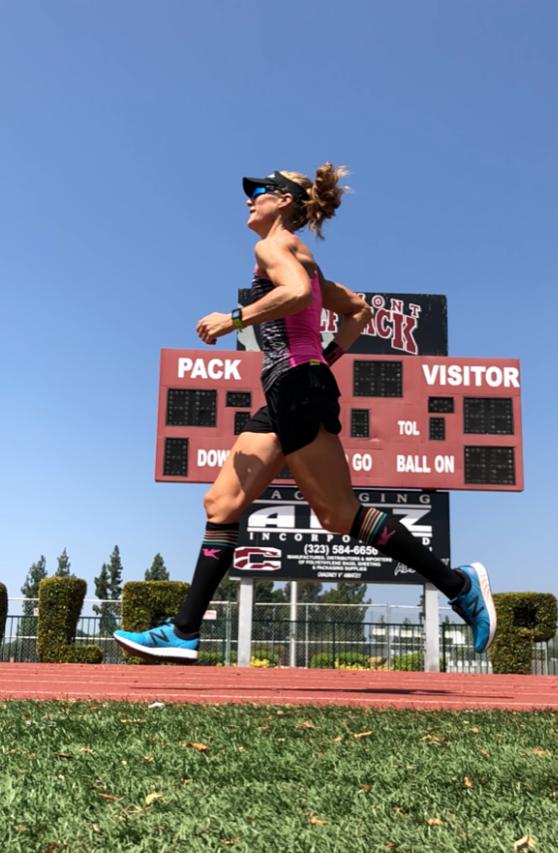 Running around the Claremont High School track, August, 2018.