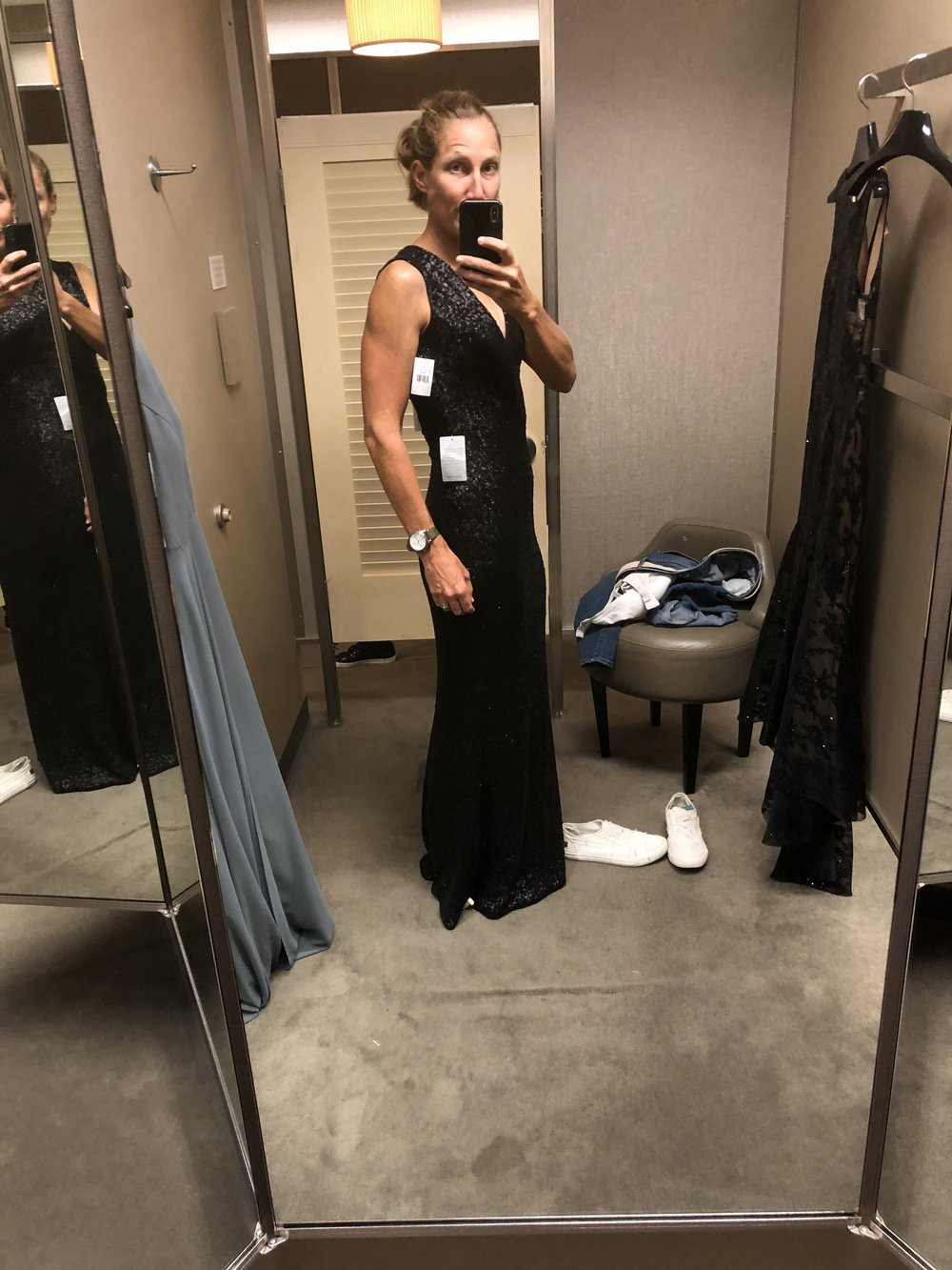 Emmy's dress shopping, 9/3/2018, capturing a photo for Hannah's approval.