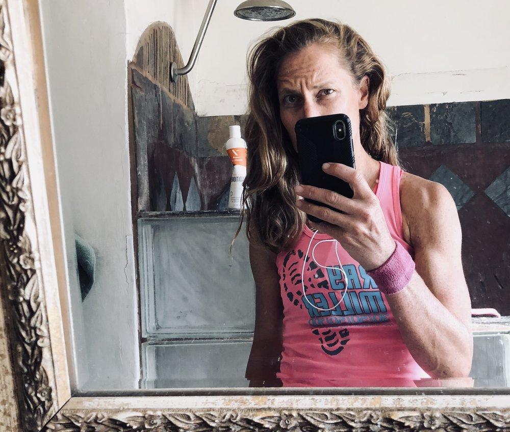 Post Saturday ocean swim/bike ride/nap hair. I still had a tough, but fun treadmill run to do next.