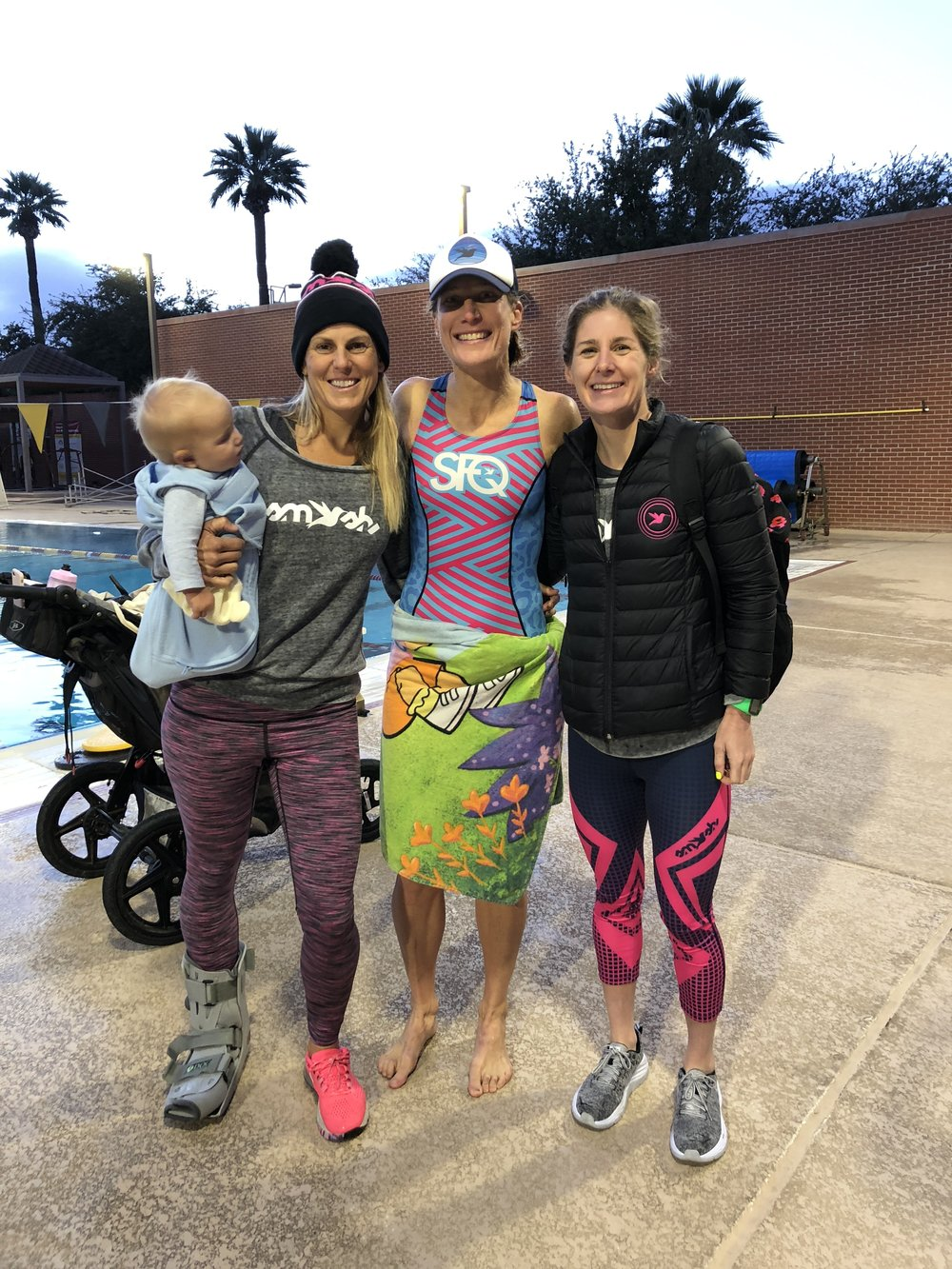 Post swim session, left to right, Hill and Hillary Biscay, yours truly, and Haley Chura.