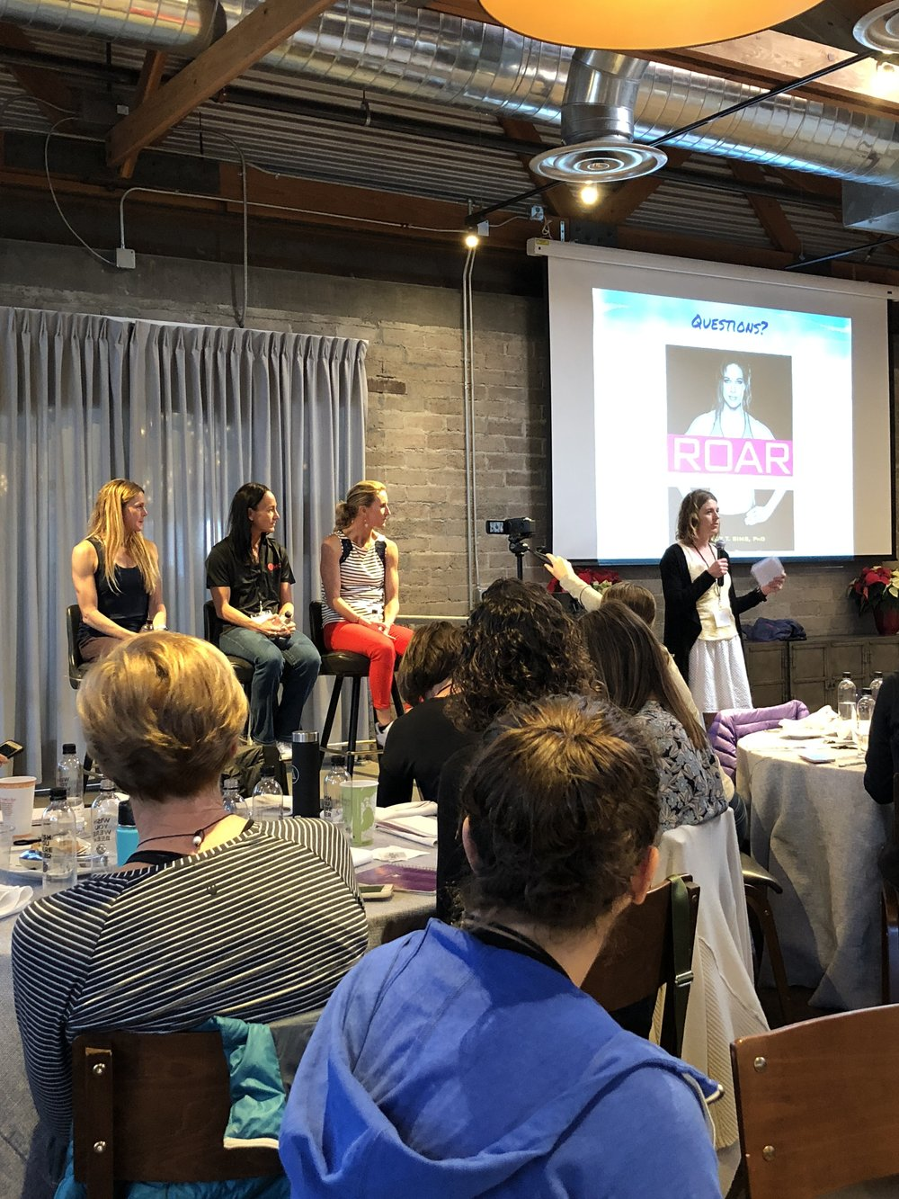 From left, Dr. Stacy Sims, Marilyn Chychota, Meredith Kessler, and moderator Tenille Hoogland.