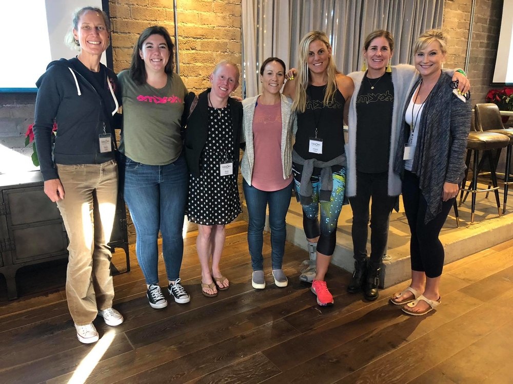 My fantastic TeamSFQ teammates who attended the Outspoken Summit. From left, yours truly, Maxine Louise, Kelly O'Mara, Audra Miller, Hillary Biscay, Haley Chura, and Taryn Fimiani Pro Triathlete Nicole Valentine is not pictured. Photo courtesy of Hillary Biscay.