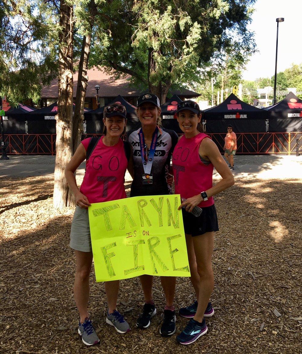 My best friends on earth, from left, Emily Tweten, a sweaty Ironwoman, and Hadara Katarski.