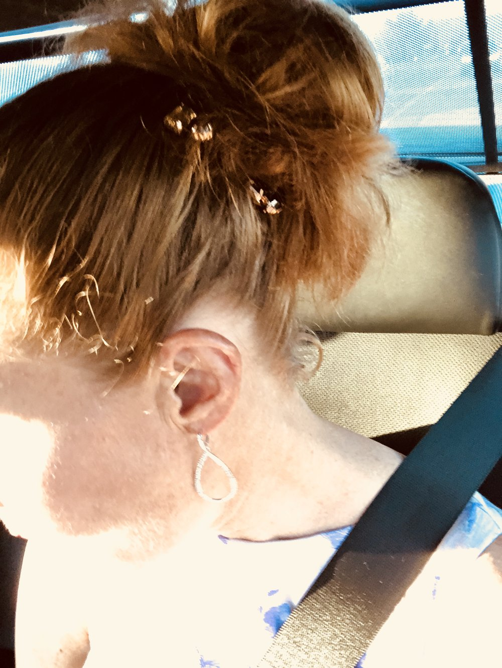 I jazzed up my usual up-do with some bling. Also, for anyone who doesn't believe I am a red-head….