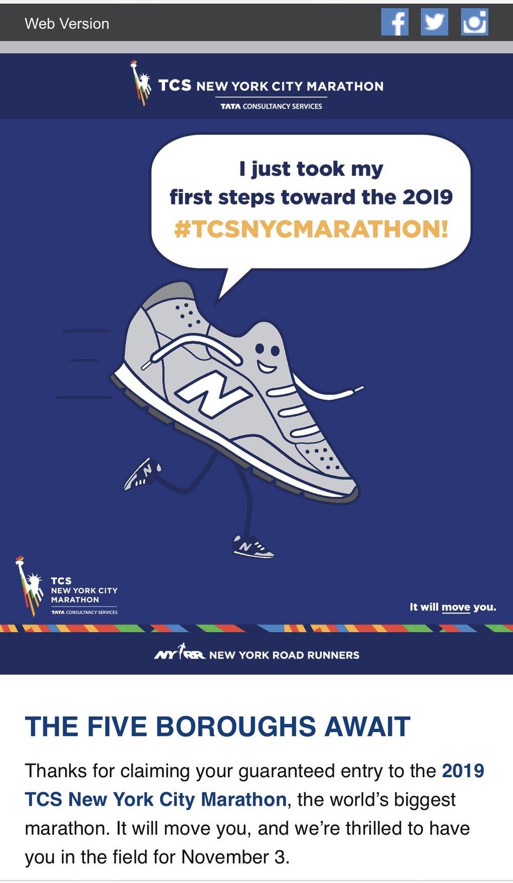 NYC marathon acceptance email.