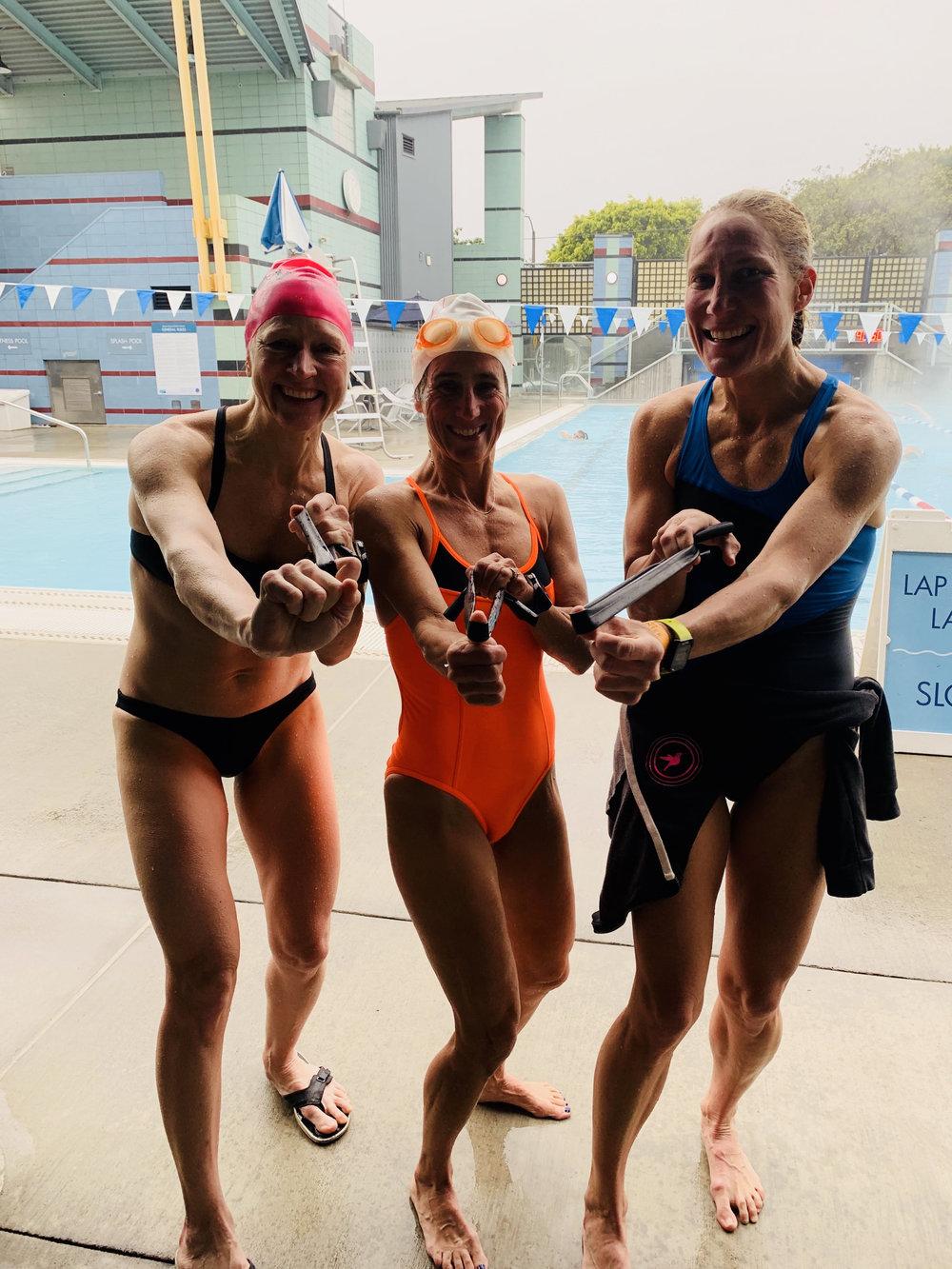 Post Breakthrough Swim, From left, my teammate's Kat Zeiler, Lynne fielder, and a tall lady. Photo courtesy of Jenn Aronson.