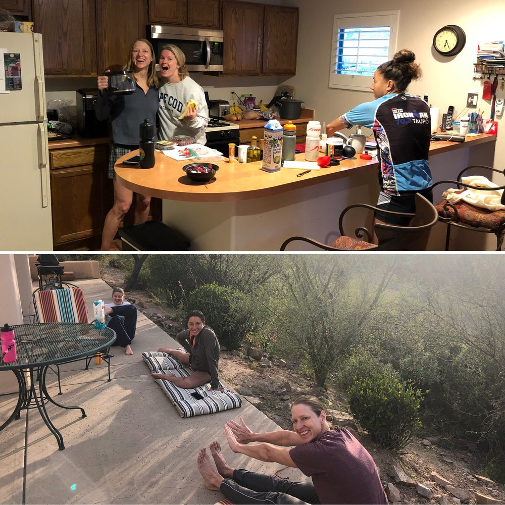 My roommates for the week, Eleanor Mullen, Kat Zeiler, and Alysha Krall before and after our 135+ bike ride on Day 2 of camp.