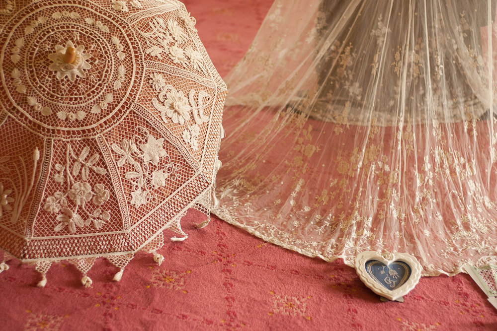 Modern Irish Crochet Parasol and Brussel's Lace Wedding Veil