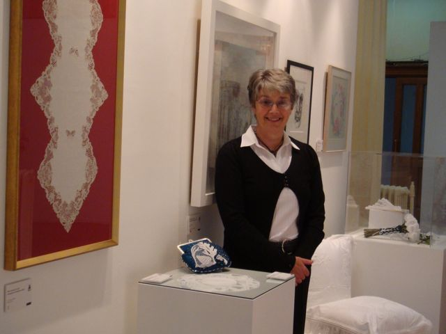 Pat Lamb with her Prize-Winning Work