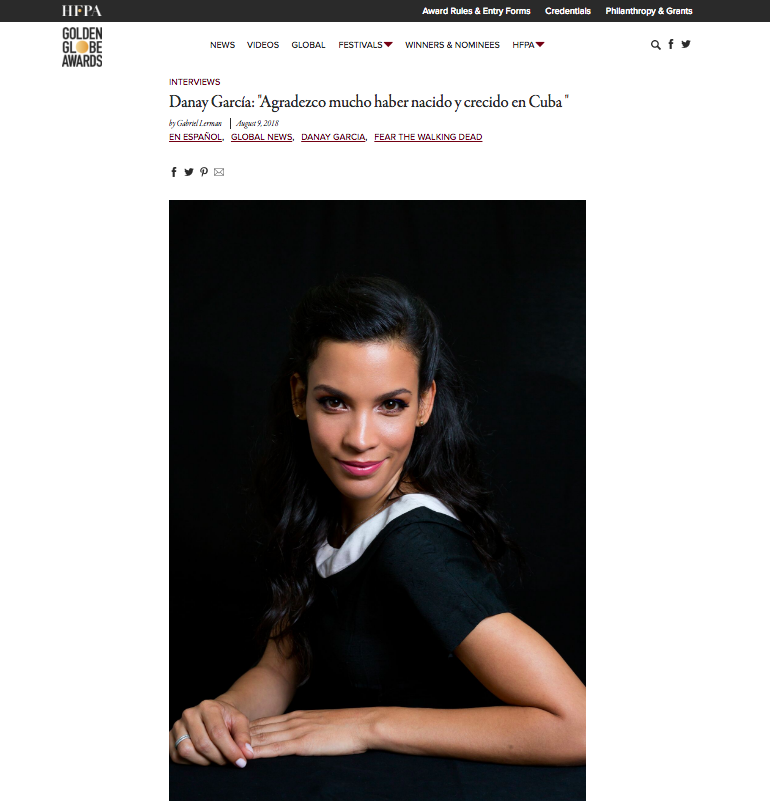 GoldenGlobes.com Hair styling for Danay Garcia