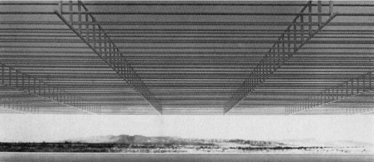 Wachsmann, Konrad. City Hall, California City, Interior Perspective. 1966. Konrad Wachsmann Archiv, Akademie der Kunst, Berlin.