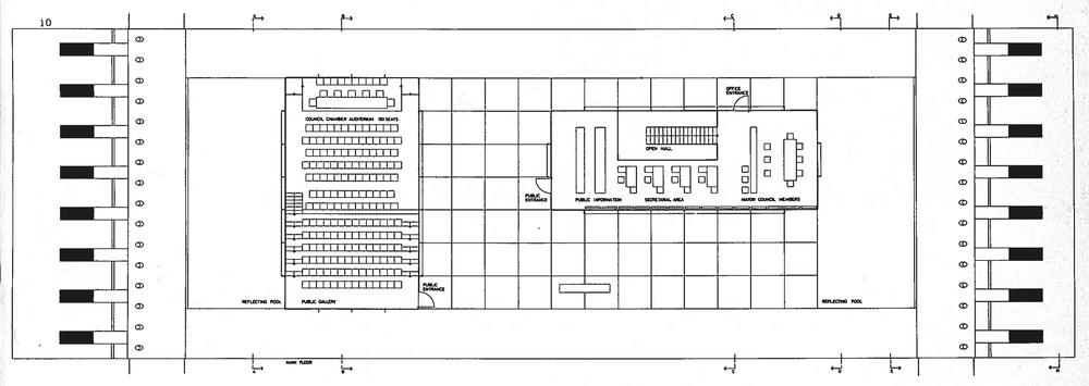 Wachsmann, Konrad. City Hall, California City, Plan. 1966. Konrad Wachsmann Archiv, Akademie der Kunst, Berlin.