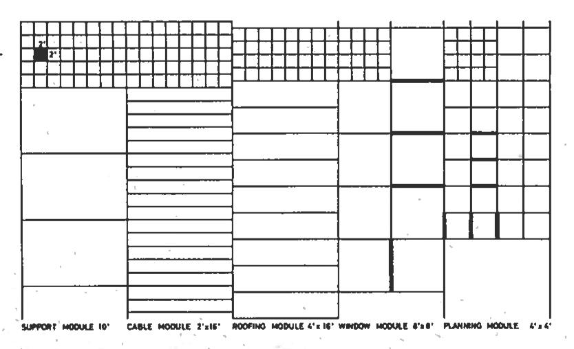 Wachsmann, Konrad. City Hall, California City, Modular Order Diagram. Konrad Wachsmann Archiv, Akademie der Kunst, Berlin.