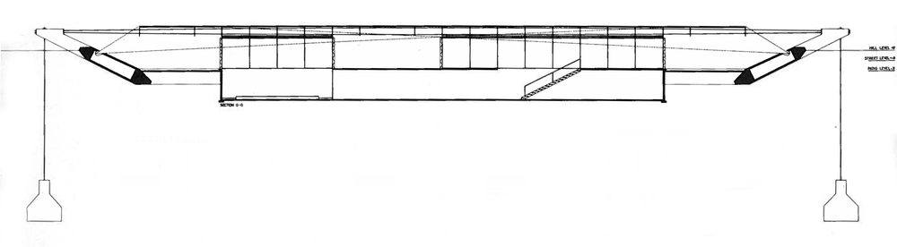 Wachsmann, Konrad. City Hall, California City, Longitudinal Section. 1966. Konrad Wachsmann Archiv, Akademie der Kunst, Berlin.