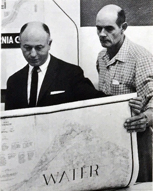 "N.K. Mendelsohn, President, California City Development Company with Jim Scott in charge of Water Supply Development at California City. ""Water, Water, Everywhere! - And Plenty to Drink.""  California City Sun  1, no. 8 (1965): 1."
