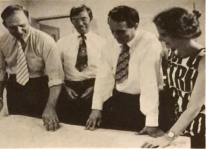 """Venturi and Rauch Principals - The architect and planning team for California City is headed by left to right, John Rauch, Gerod Clark, Robert Venturi and Denise Scott Brown."" California City Sun 13, no. 5 (1970)."