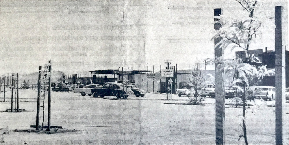 Downtown California City. Photo by Ken Howell.  California City Sun  5, no. 3 (1962).