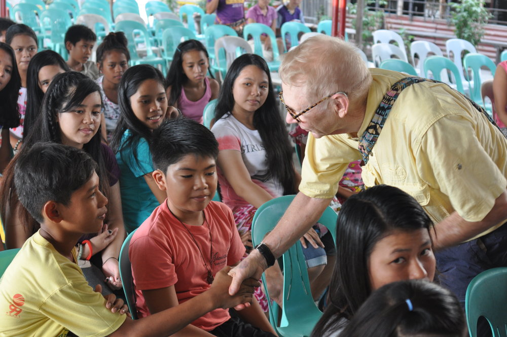 Bill with students at the Jay Pritzker Academy. Siem Reap, Cambodia.
