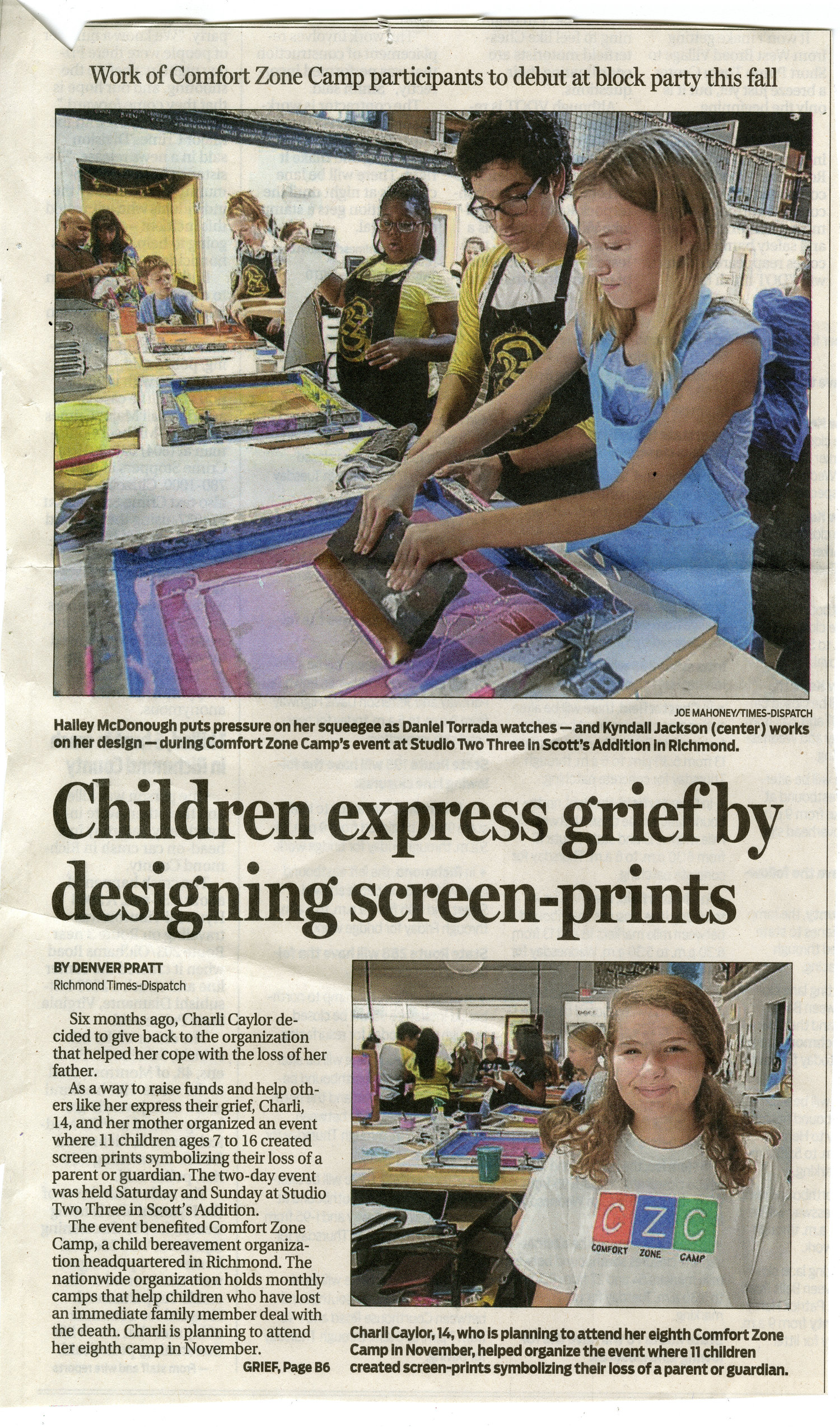 Richmond Times Dispatch and Comfort Zone — Studio Two Three