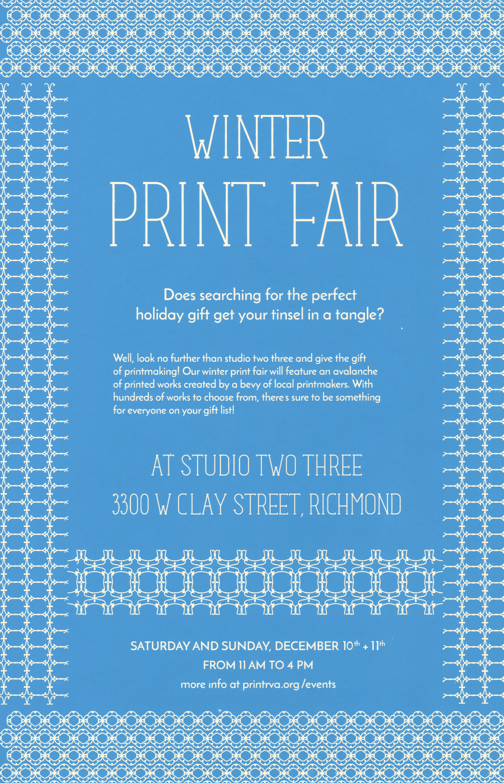 Artists at Studio Two Three are busily printing and making all sorts of wonderful art and gifts for you to purchase on Dec. 10 and 11 at our annual Winter Print Fair. We're very excited about this event which has become a favorite of holiday shoppers and collectors, and we really hope you can join us! Additionally, Natalie Kohlhepp and Drew Storcks will be taking 8x10 Portraits using a Graflex camera! Sign up HERE to secure a spot during their Saturday shooting hours.  Winter Print Fair hours are Saturday, Dec. 10 and Sunday, Dec. 11, 11am-4pm. As you may know, we are located at 3300 W. Clay St., 23230, in Scott's Addition. Winter Print Fair artists include: Amanda Austin BRK Re-Design Frames Laurie Carnohan Ann Chenoweth Clown Kisses Press Elizabeth Cogar Drift Riot Jewelry Madison Fairburn Garrett Fees Mary Fleming Lucy Gillis Guard N Flags Sarah Hand Ashley Hawkins Brooke Inman Rosemary Jesionowski & Jake Urbanski Aimee Joyaux Melanie Kluender Aijung Kim Cody Landrum Amelia Blair Langford Lightbox Print Co. Matt Lively Cam McMullen Navy Hill Co. Obscuro Jewelry Travis Robertson RVA Coffee Stain Alyssa Salomon Cosima Storz Studio Two Three Interns Studio Two Three Photographers Daniel Torraca VCU Print Club Kim Winters Katie Wood In addition, on Saturday, Dec. 10, 11am-4pm, photographers Natalie Kohlhepp and Drew Storcks will be taking portraits during the Winter Print Fair using Cindy Neuschwander's beautiful studio camera, donated courtesy of Jay Barrows. You'll get an 8x10 direct positive print for $20. Sign up for your close up now!
