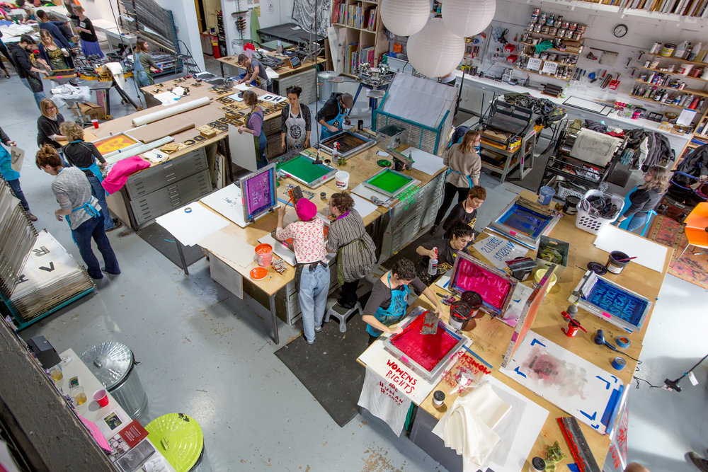 ARTISTS WORKING IN OUR COMMUNITY PRINT SHOP, PART OF OUR COMMUNAL STUDIO