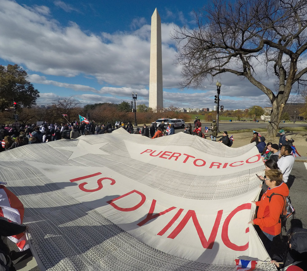 The 750 square foot flag at the 2017 Unity March for Puerto Rico.    Photo courtesy of Steven Casanova